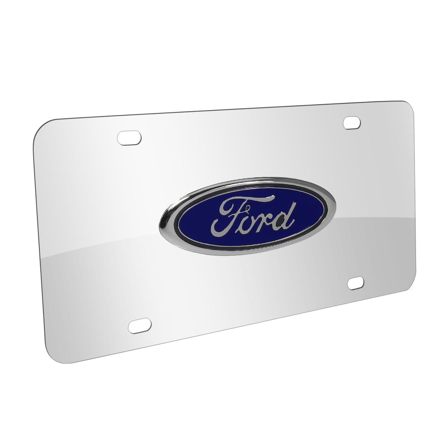 Ford 3D Logo Chrome Stainless Steel License Plate