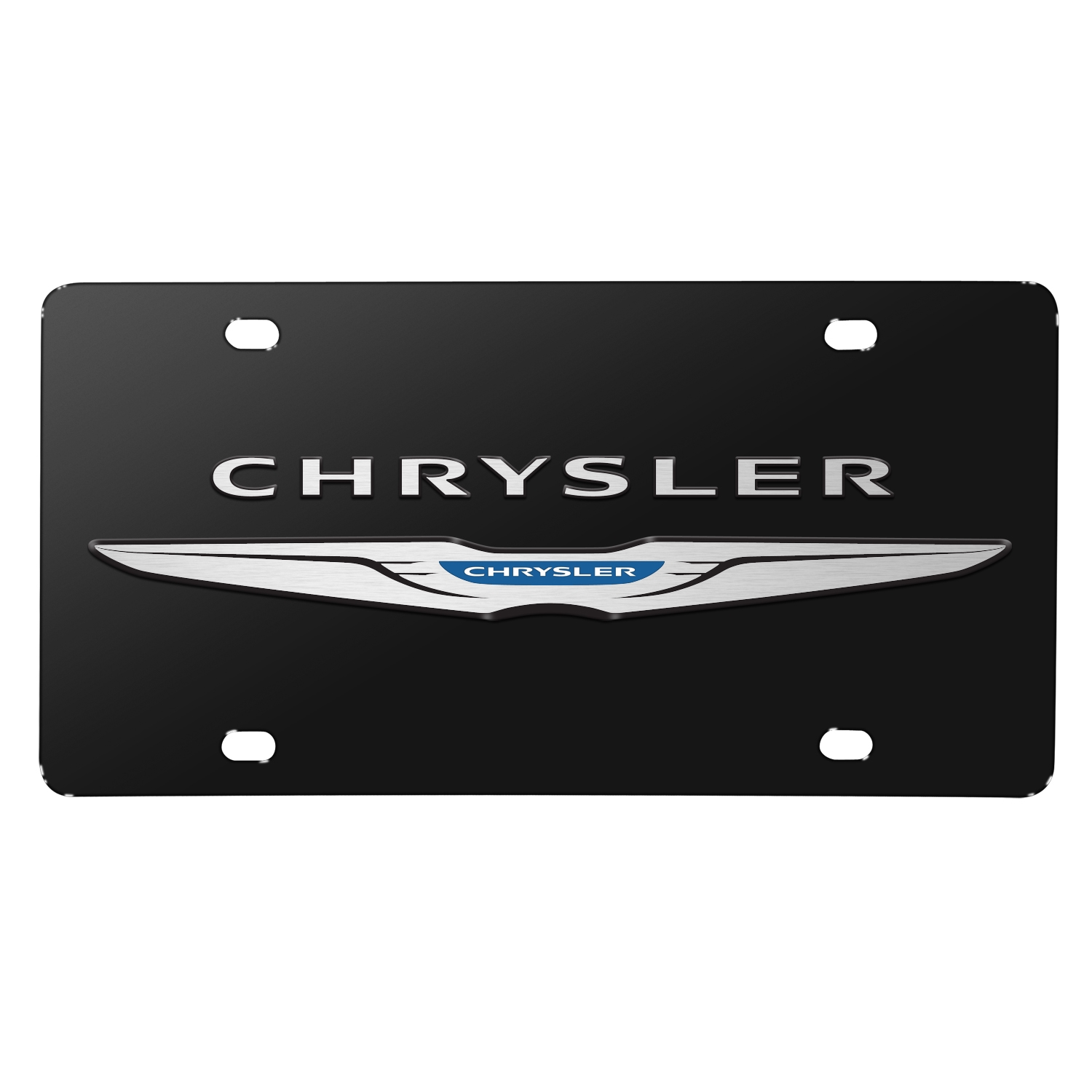 Chrysler Wings Double 3D Logo Black Stainless Steel License Plate