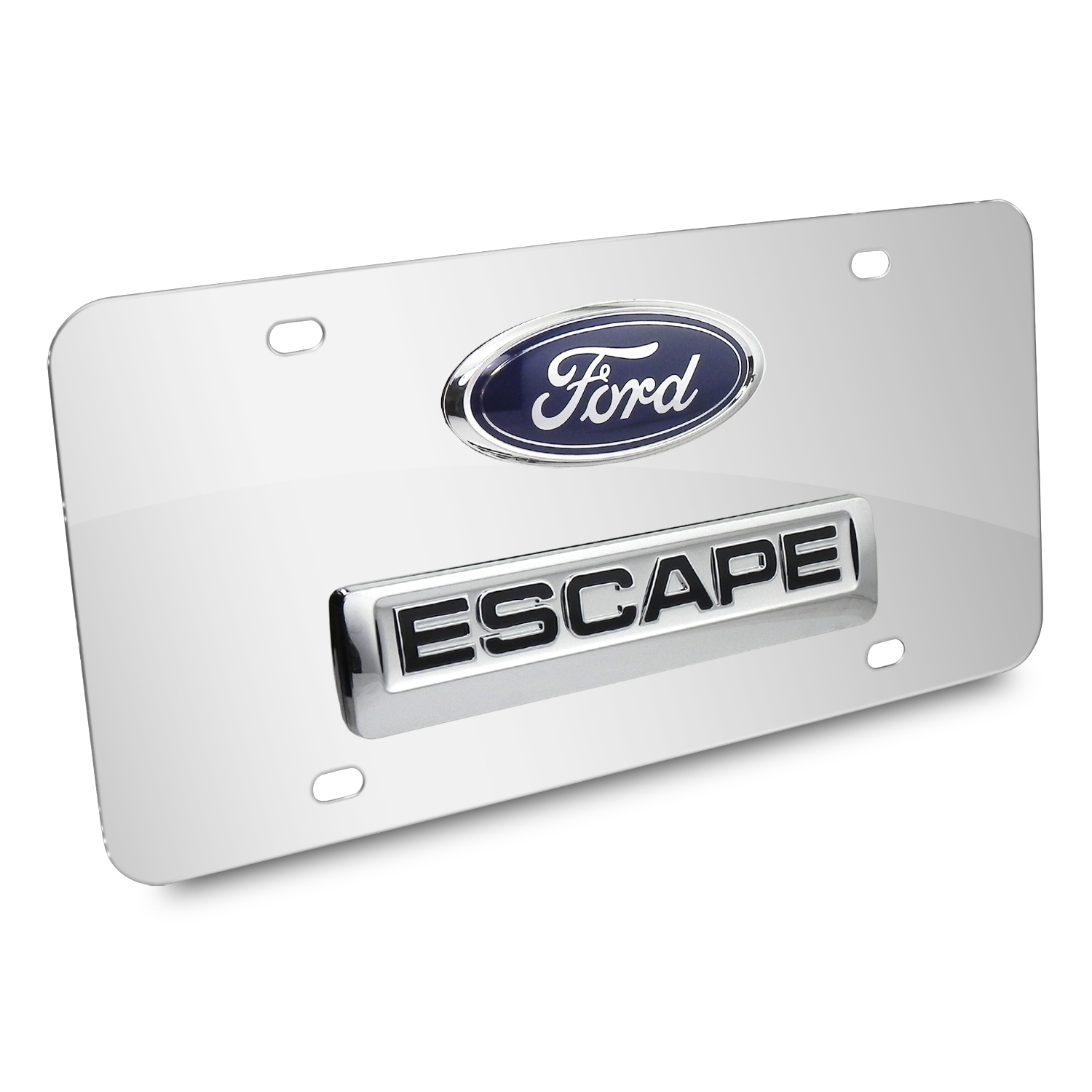Ford Escape Double 3D Logo Chrome Stainless Steel License Plate