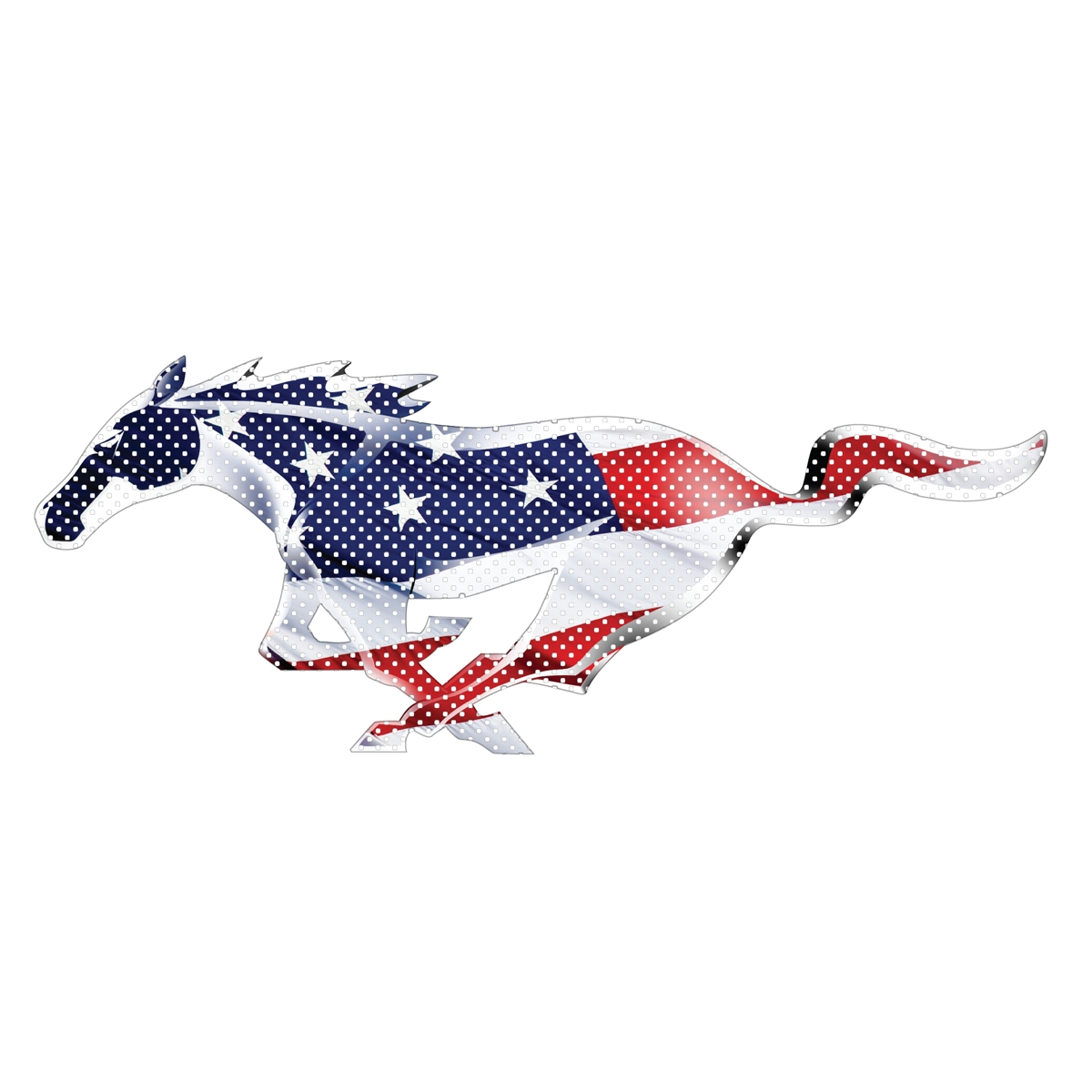 Ford mustang pony in usa flag 12 3m perforated unobstructed view window graphic decorative decal