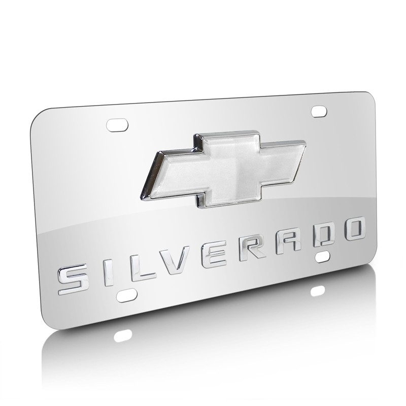 Chevy Bow Tie Logo License Plate White