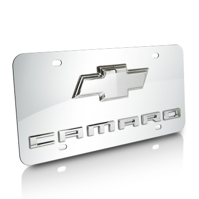 Chevrolet Camaro With Chrome Bowtie 3D Logo Chrome Stainless Steel License Plate