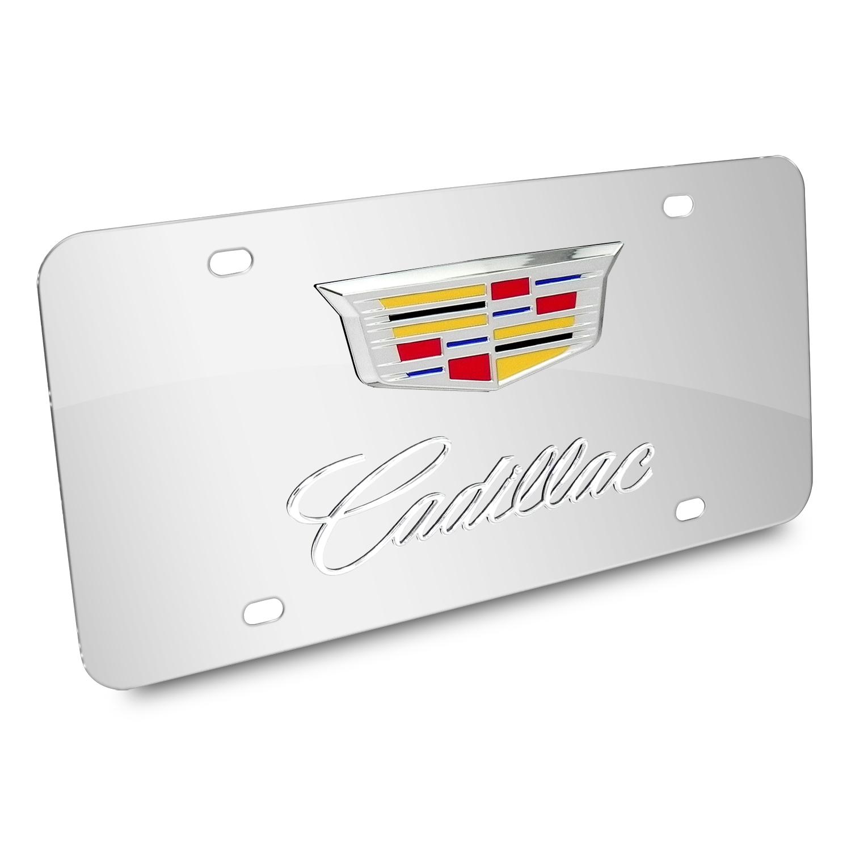 Made in USA Cadillac Script Emblem Black License Plate W// Mirror Script