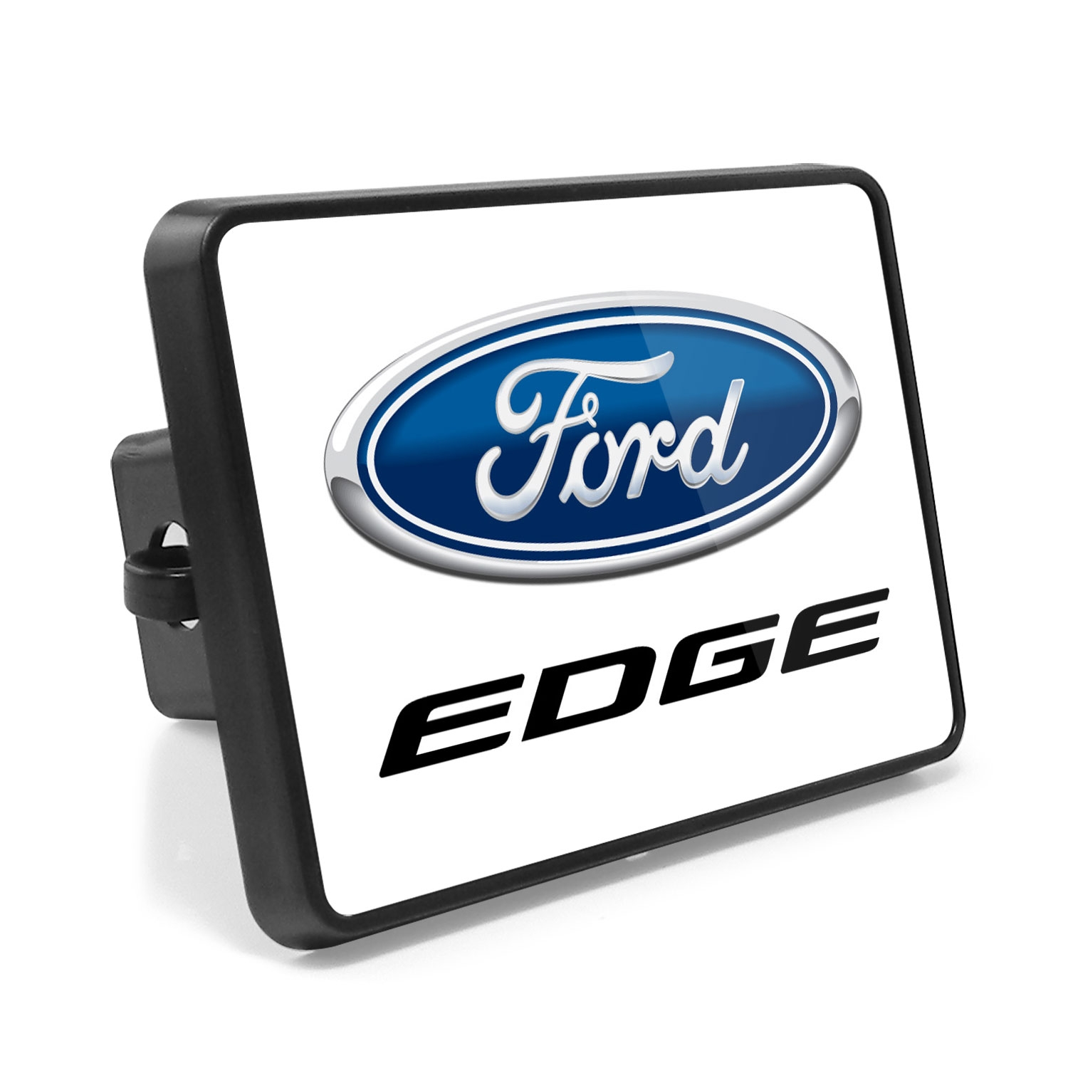 Ford Edge UV Graphic White Metal Plate on ABS Plastic 2 inch Tow Hitch Cover