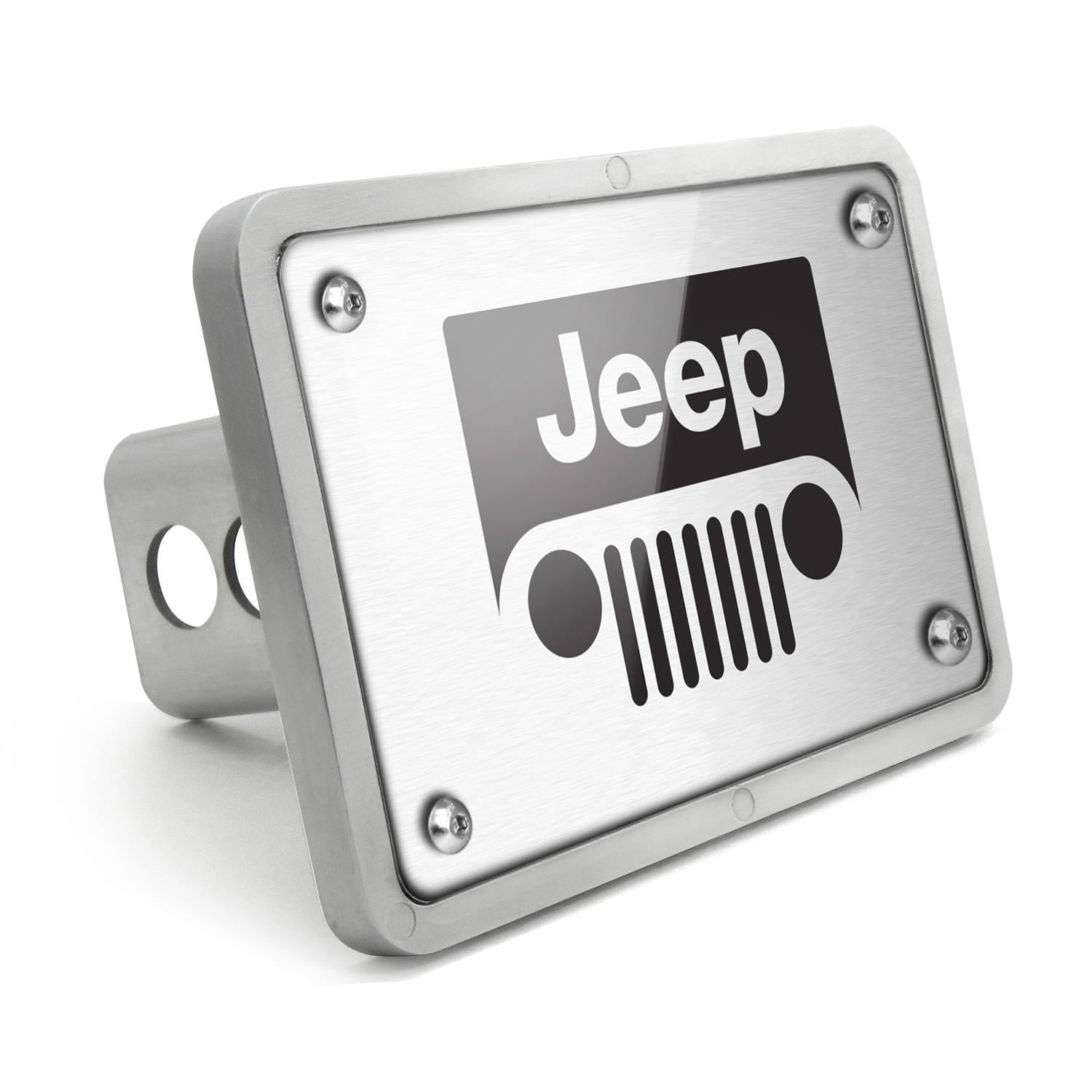 Jeep Grill UV Graphic Brushed Silver Billet Aluminum 2 inch Tow Hitch Cover