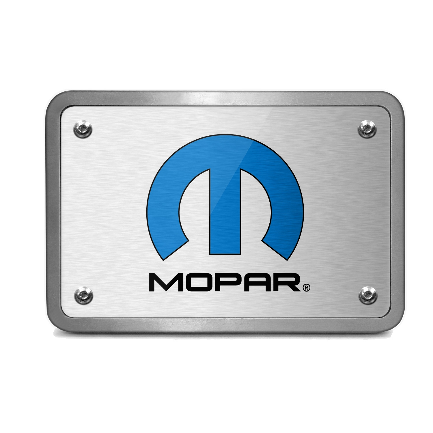 Mopar Logo UV Graphic Brushed Silver Billet Aluminum 2 inch Tow Hitch Cover
