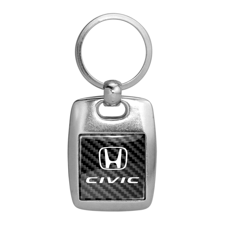 Honda Civic on Carbon Fiber Backing Brush Metal Key Chain