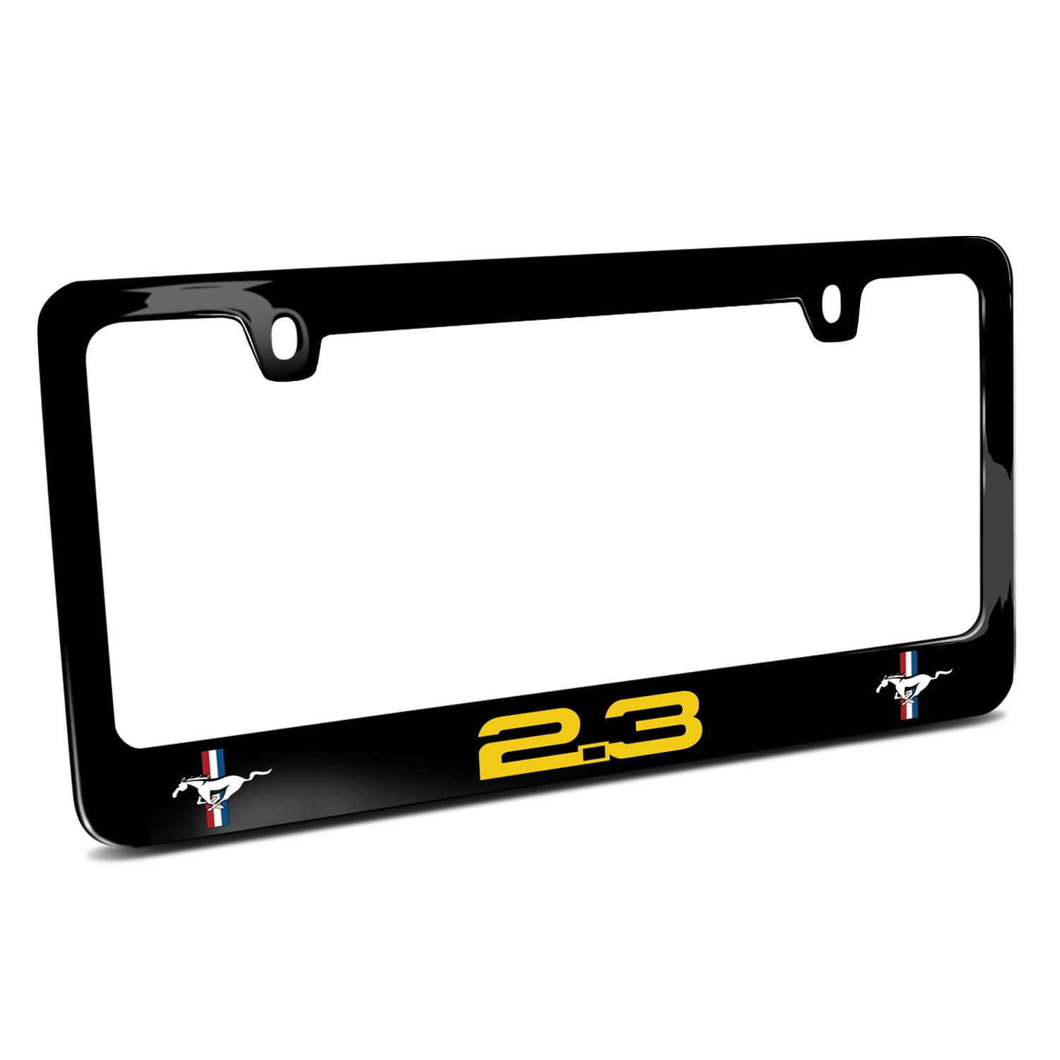Ford Mustang 2.3L EcoBoost in Yellow Dual Logo Black Metal License Plate Frame  sc 1 st  iPick Image & Ford Mustang 2.3L EcoBoost in Yellow Dual Logo Black Metal License ...