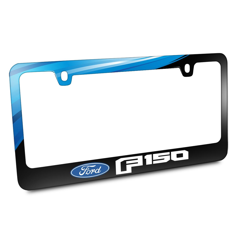 Ford Logo F-150 2015 up Black Metal Graphic License Plate Frame ...