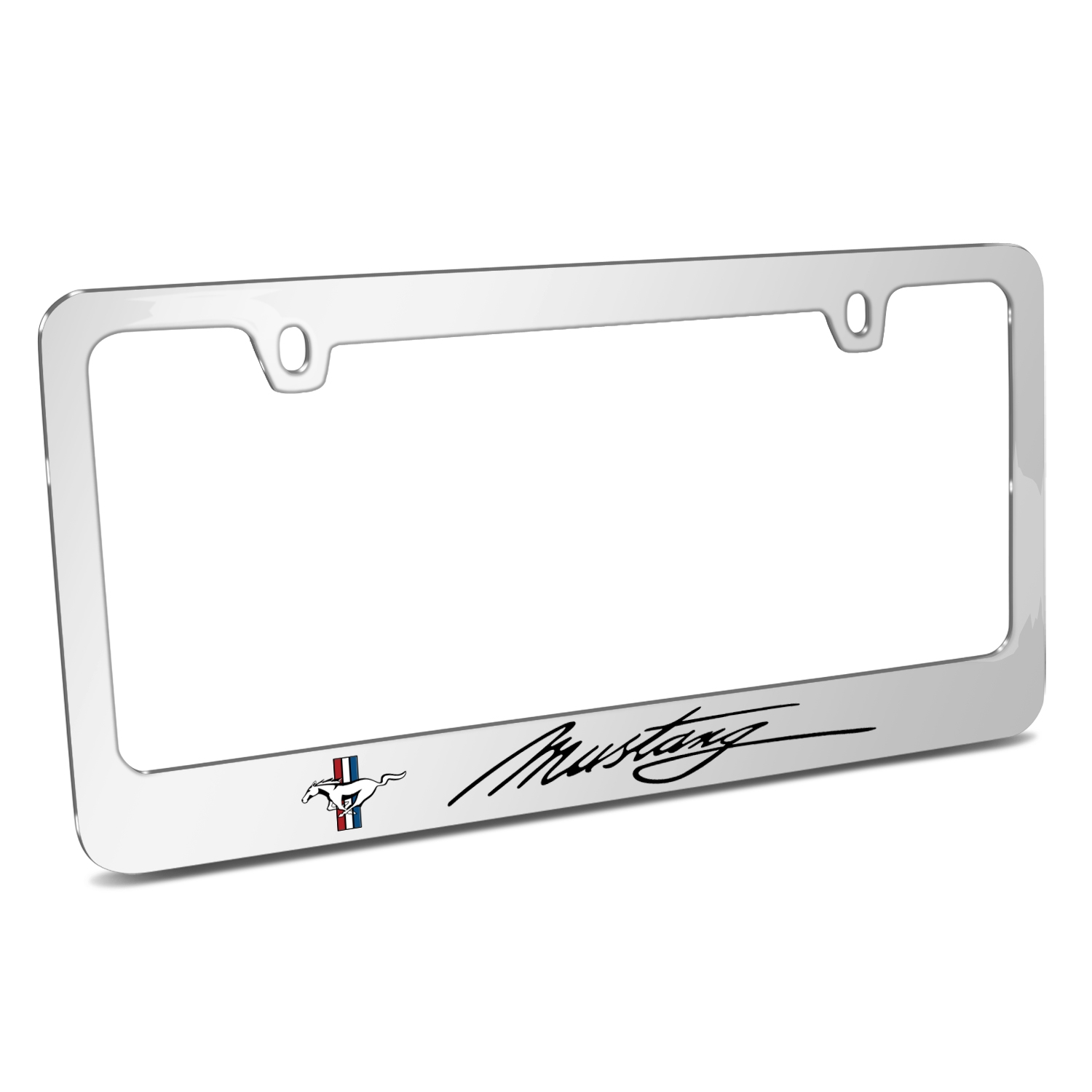 Ford Mustang Script Chrome Metal License Plate Frame - Ford ...