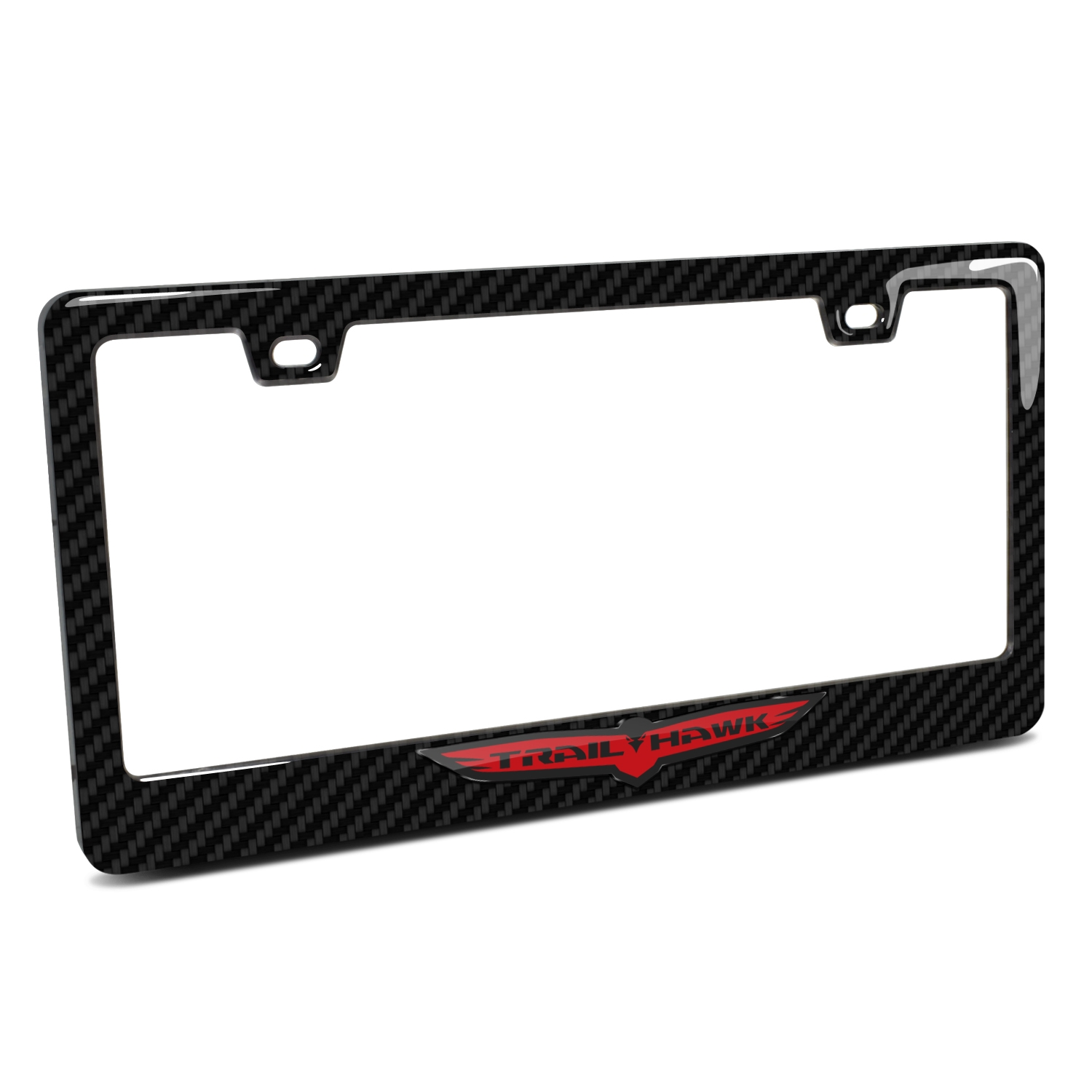 Jeep Trailhawk in 3D Black on Black Real 3K Carbon Fiber Finish ABS Plastic License Plate Frame