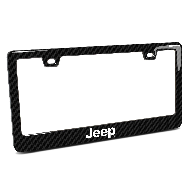Jeep Black Real 3K Carbon Fiber Finish ABS Plastic License Plate Frame