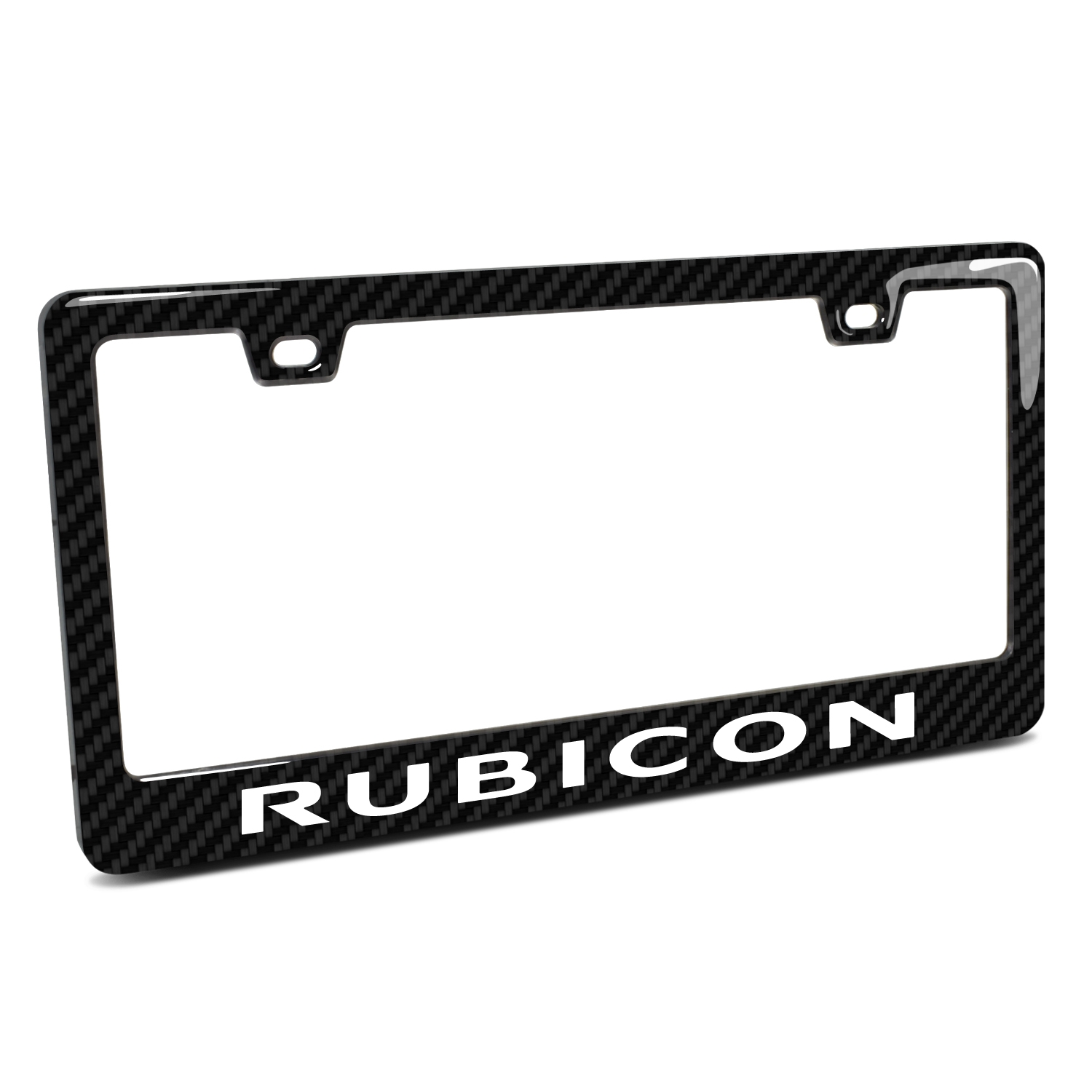 Jeep Rubicon Wrangler Black Real 3K Carbon Fiber Finish ABS Plastic License Plate Frame