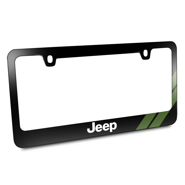 Jeep Green Stripe Black Metal License Plate Frame
