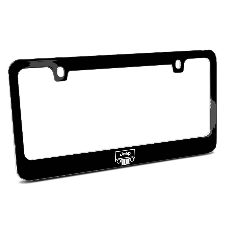 Jeep Grill Outline Black Metal License Plate Frame