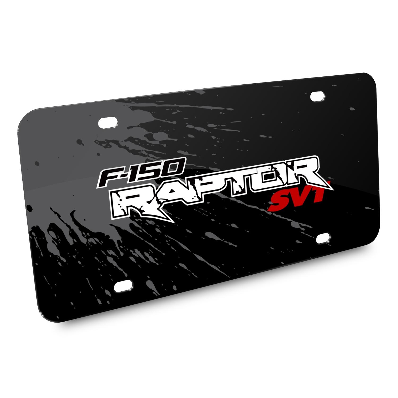 Ford F-150 Raptor SVT Splash Marks Black Acrylic License Plate
