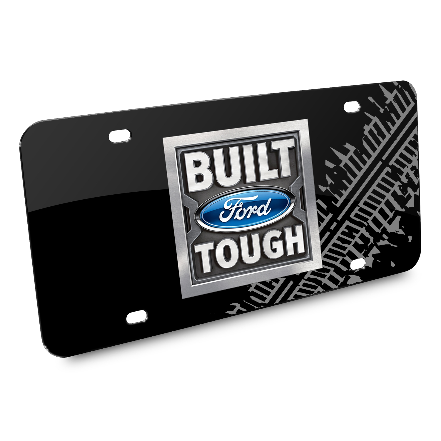Ford Built Ford Tough Tire Mark Graphic Black Acrylic License Plate