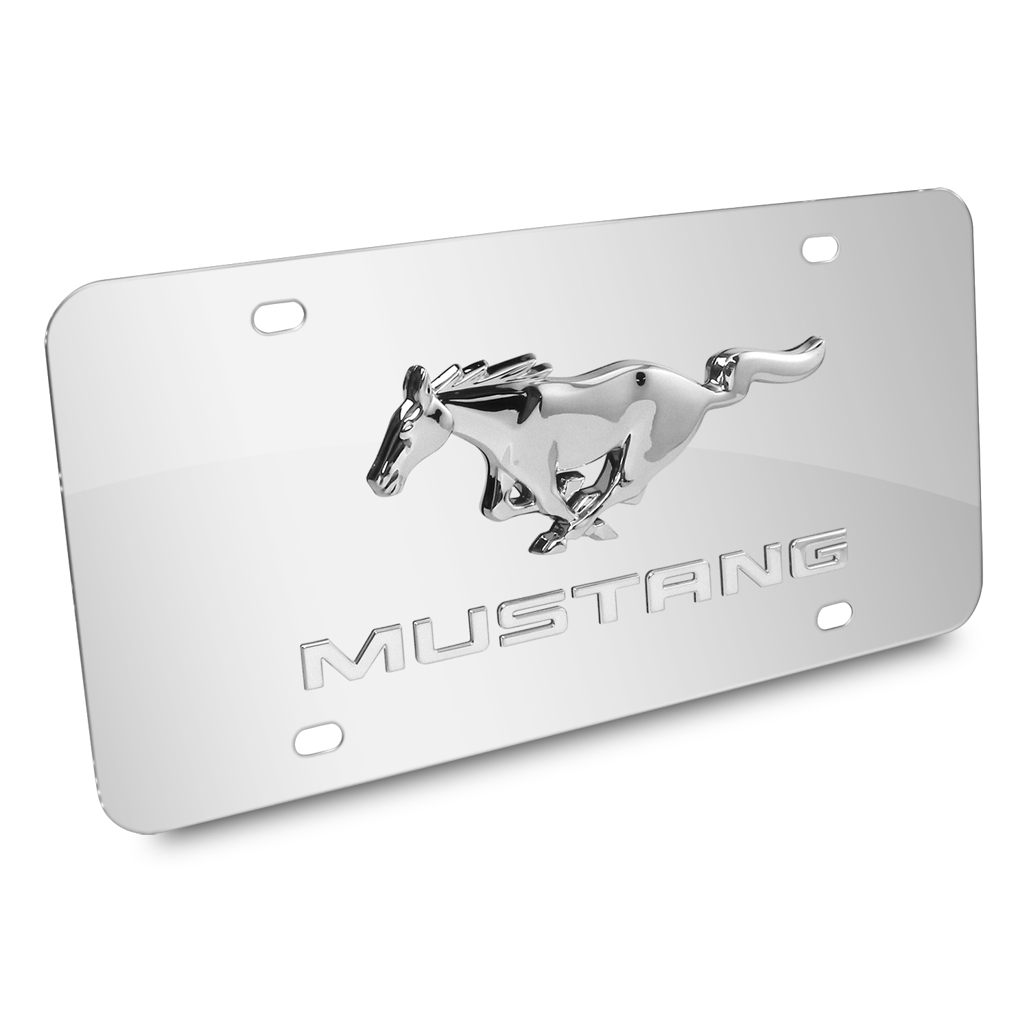 Ford Mustang Double 3D Logo Chrome Stainless Steel License Plate