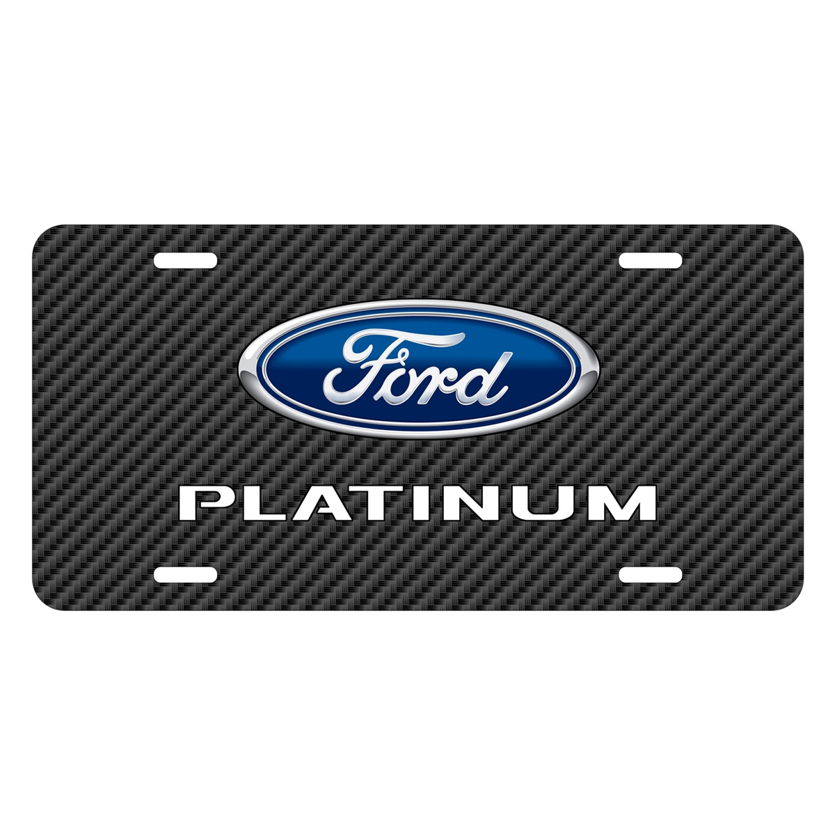 Ford F-150 Platinum Black Carbon Fiber Texture Graphic UV Metal License Plate