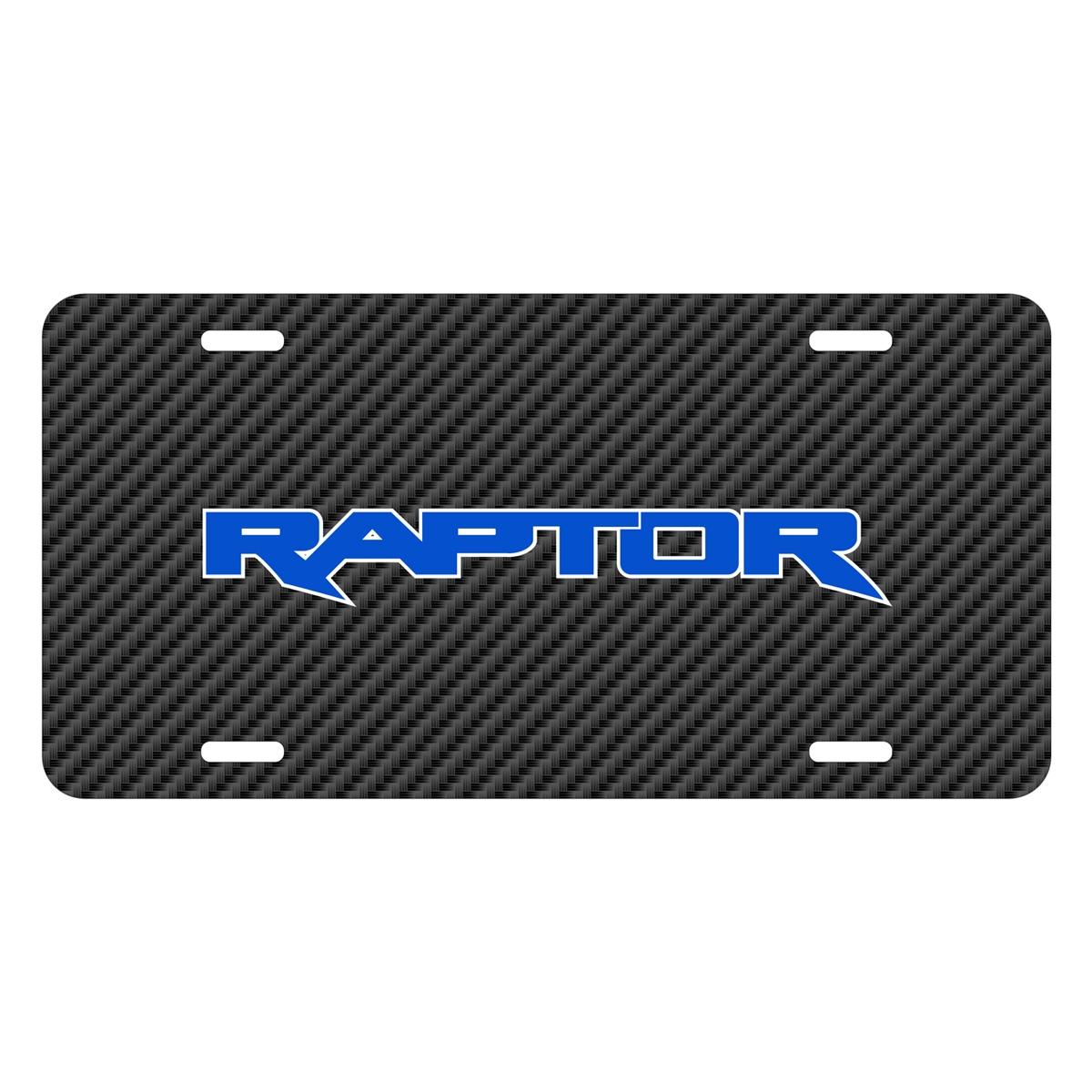 Ford F-150 Raptor 2017 in Blue Black Carbon Fiber Texture Graphic UV Metal License Plate
