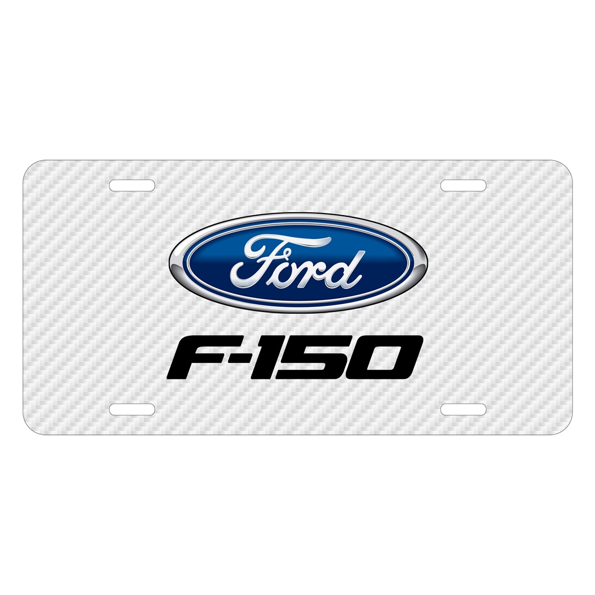 Ford F-150 2009 to 2014 White Carbon Fiber Texture Graphic UV Metal License Plate