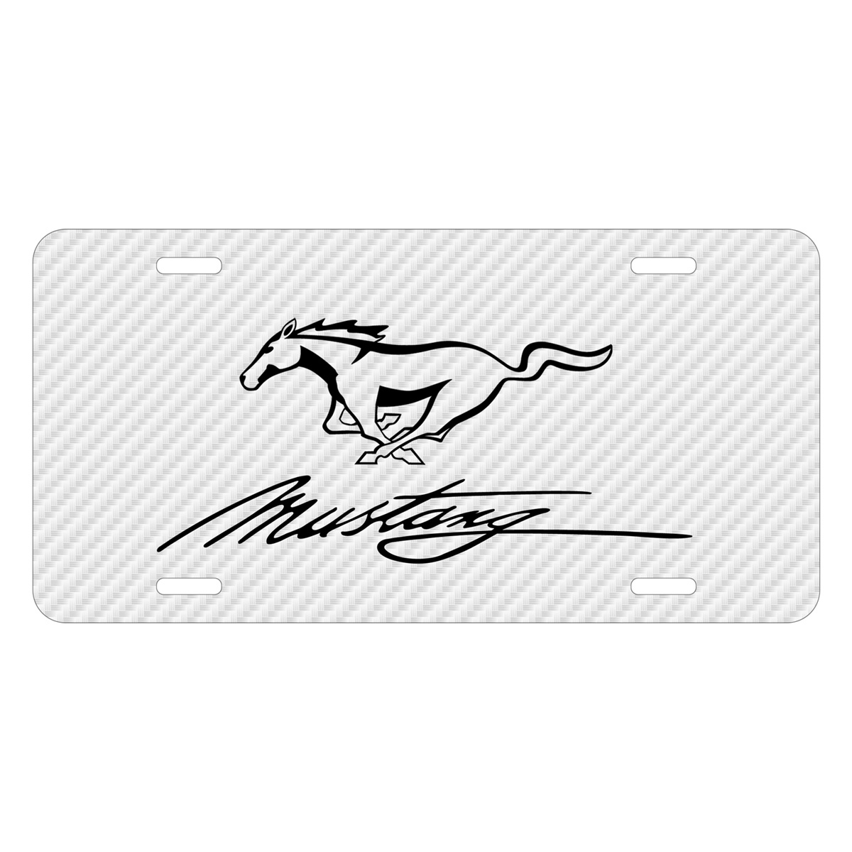 Ford Mustang Script White Carbon Fiber Texture Graphic UV Metal License Plate