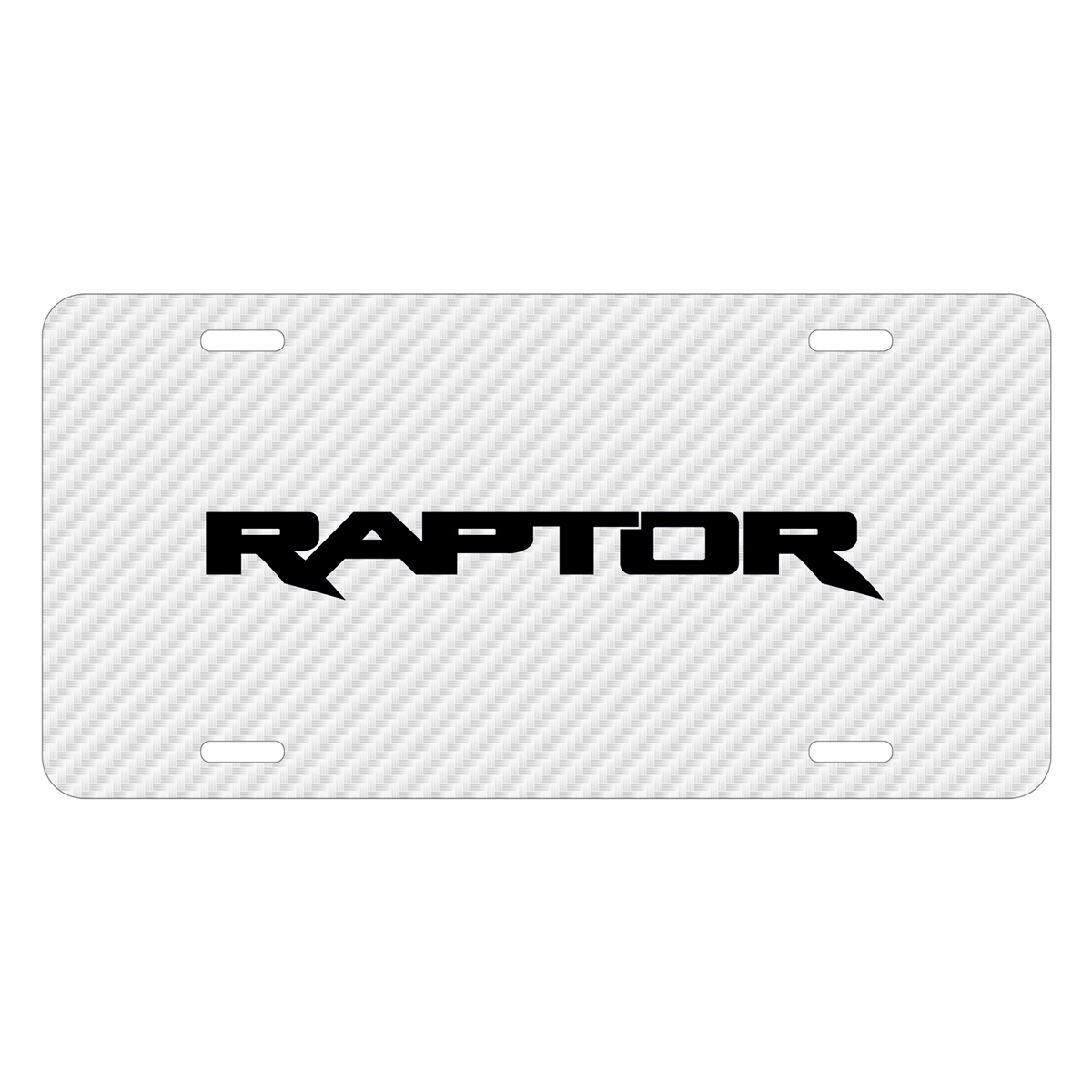 Ford F-150 Raptor 2017 White Carbon Fiber Texture Graphic UV Metal License Plate