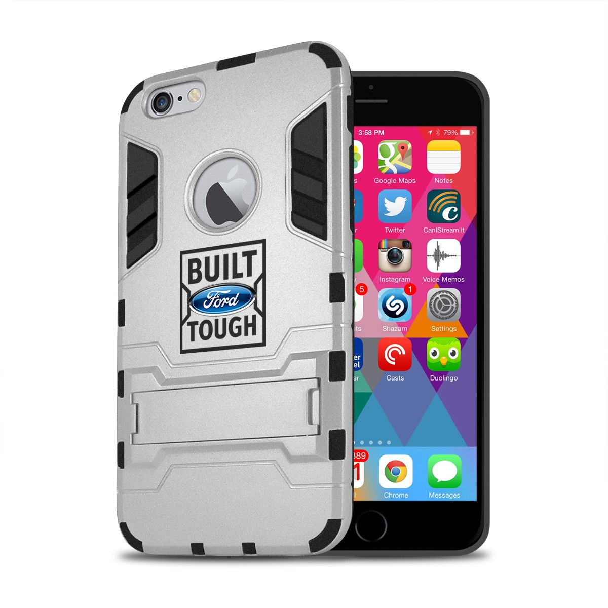 Ford Built Ford Tough iPhone 6 6s Shockproof TPU ABS Hybrid Silver Phone Case
