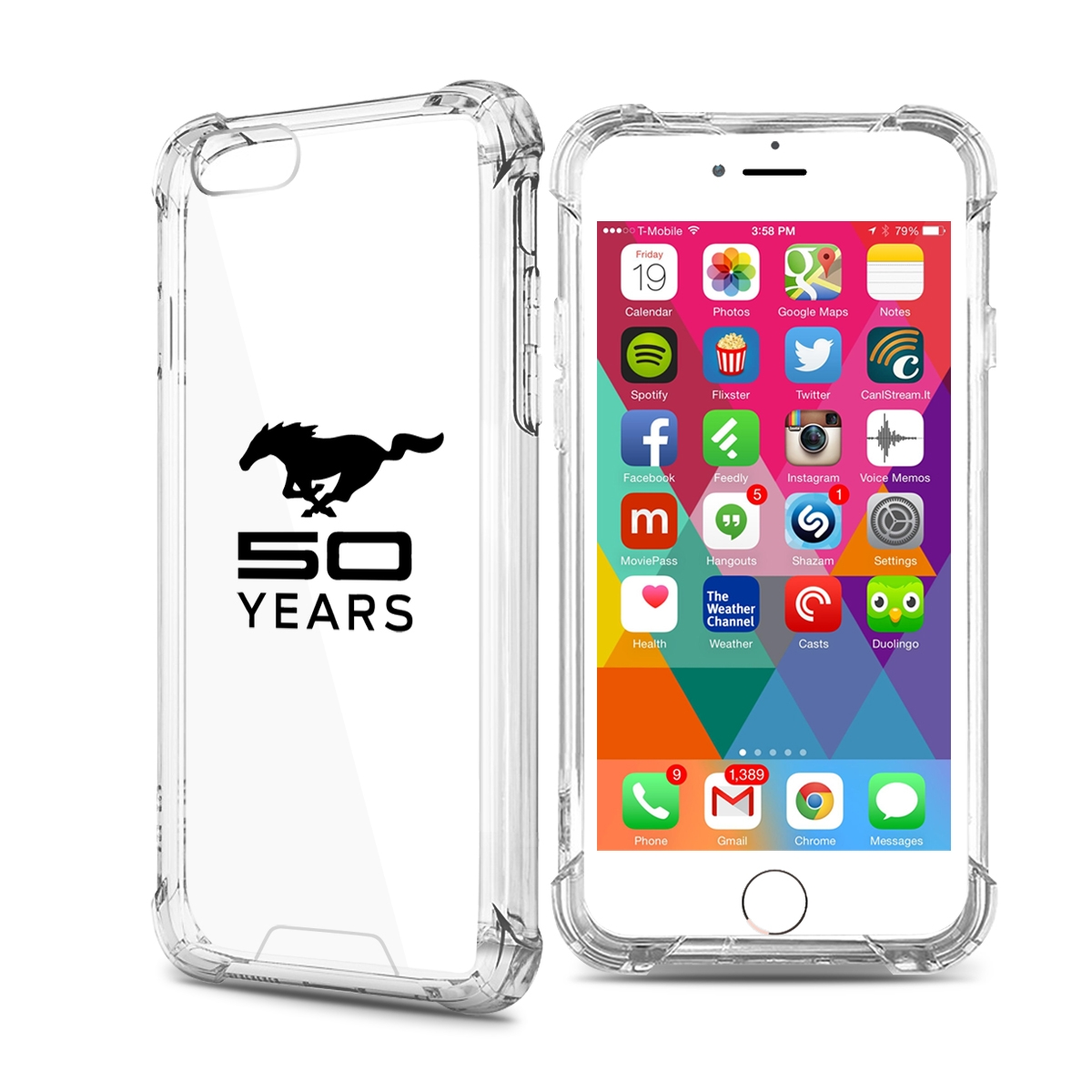Ford mustang 50 years iphone 7 clear tpu shockproof cell phone case