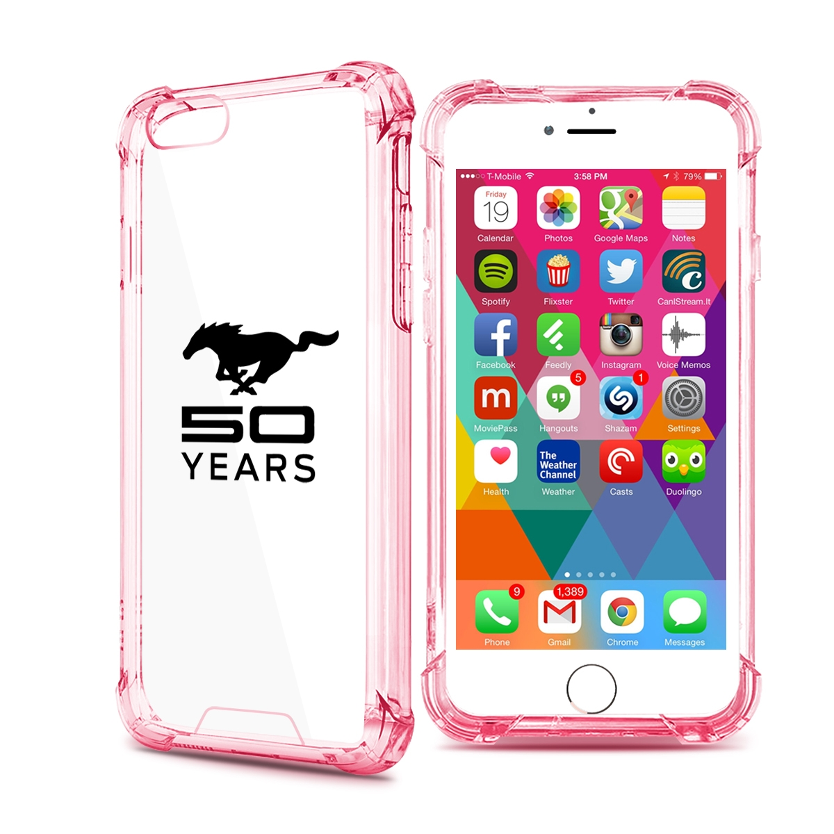 Ford mustang 50 years iphone 7 rose red clear tpu shockproof cell phone case