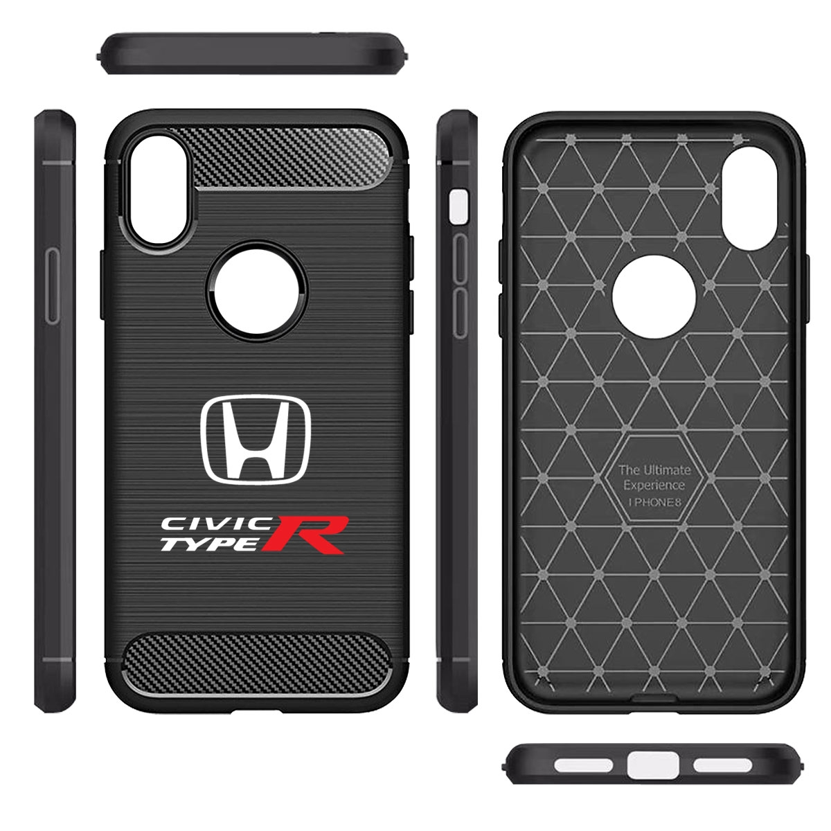 Honda Civic Type-R Shockproof Black Carbon Fiber Textures Stripes Cell Phone Case