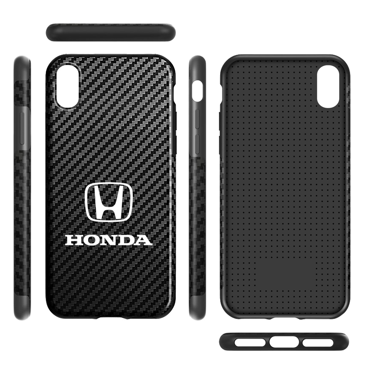 Honda Logo Black Carbon Fiber Texture Leather TPU Shockproof Cell Phone Case