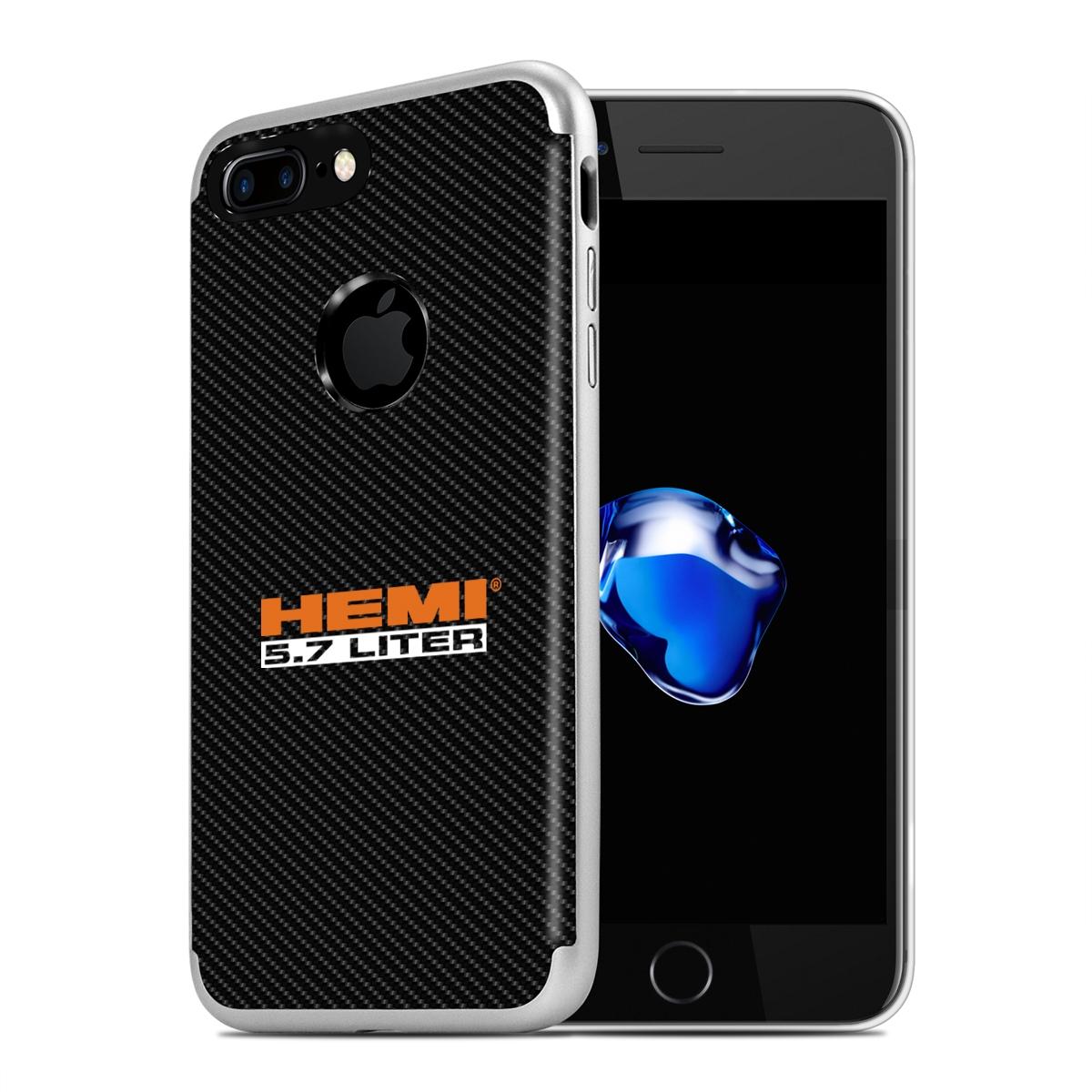 iPhone 7 Plus Case, HEMI 5.7 Liter PC+TPU Shockproof Black Carbon Fiber Textures Cell Phone Case