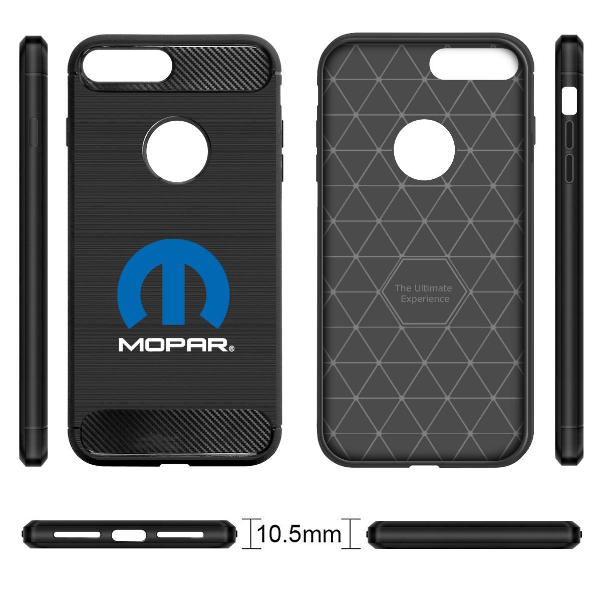 iPhone 7 Plus Case, MOPAR Logo Black TPU Shockproof Carbon Fiber Textures Cell Phone Case