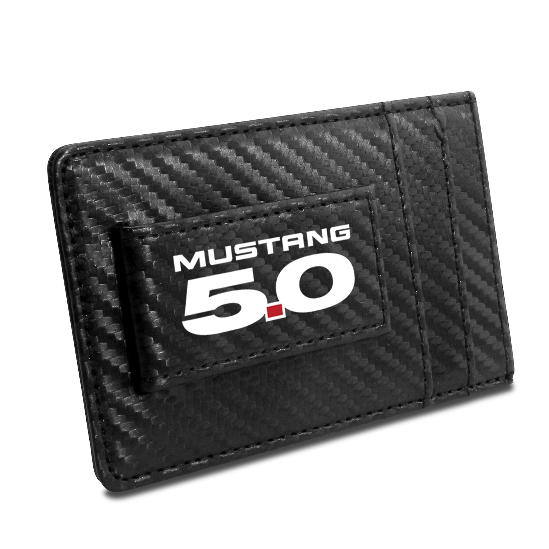Ford Mustang 5.0 Black Carbon Fiber RFID Card Holder Wallet