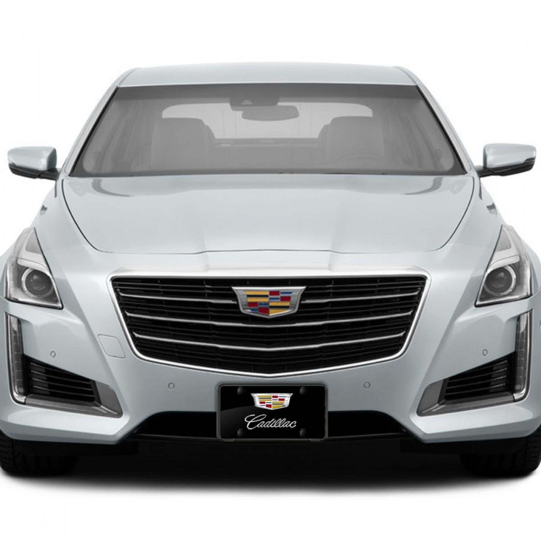 Cadillac License Plate on Black Steel