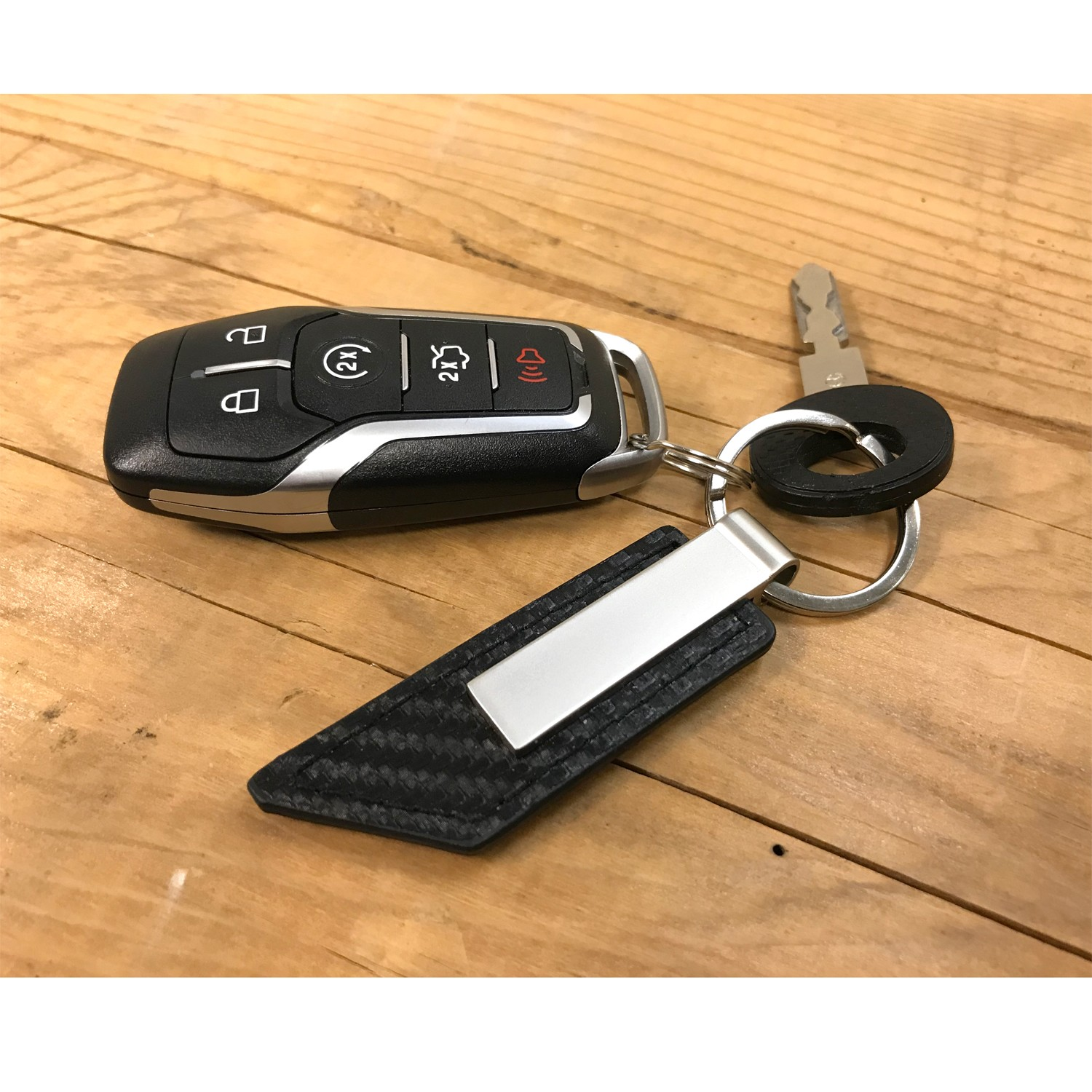 Ford Focus RS Real Carbon Fiber Blade Style with Black Leather Strap Key Chain