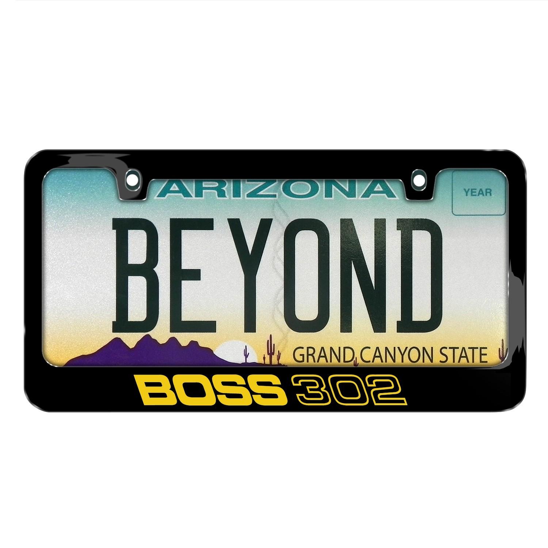 Ford Mustang Boss 302 Black Metal License Plate Frame