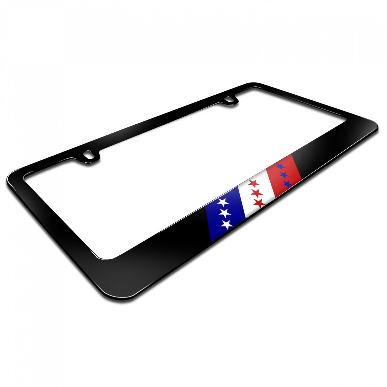 Usa American Flag Sports Stripe Black Metal License Plate