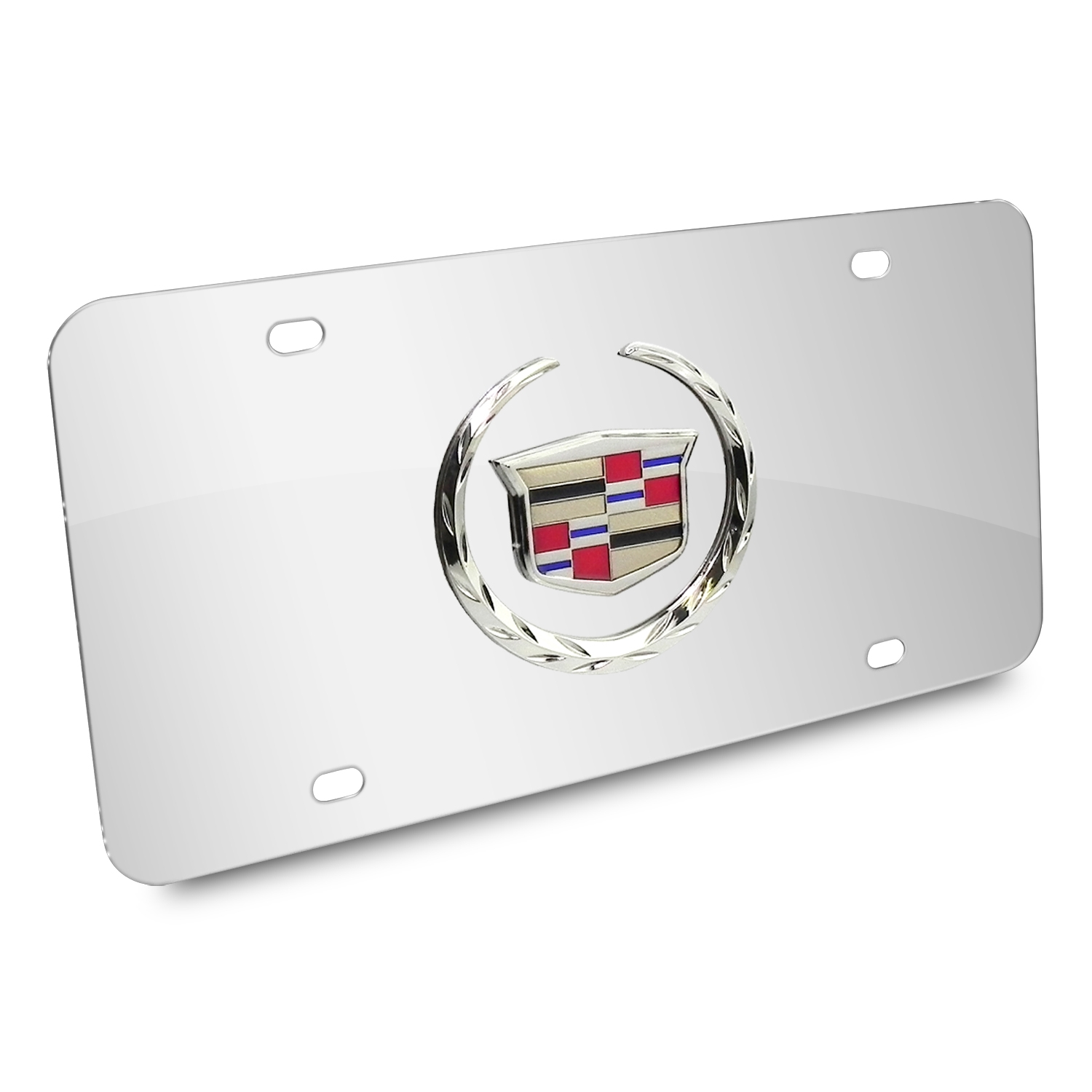 Cadillac 3D Logo Chrome Stainless Steel License Plate