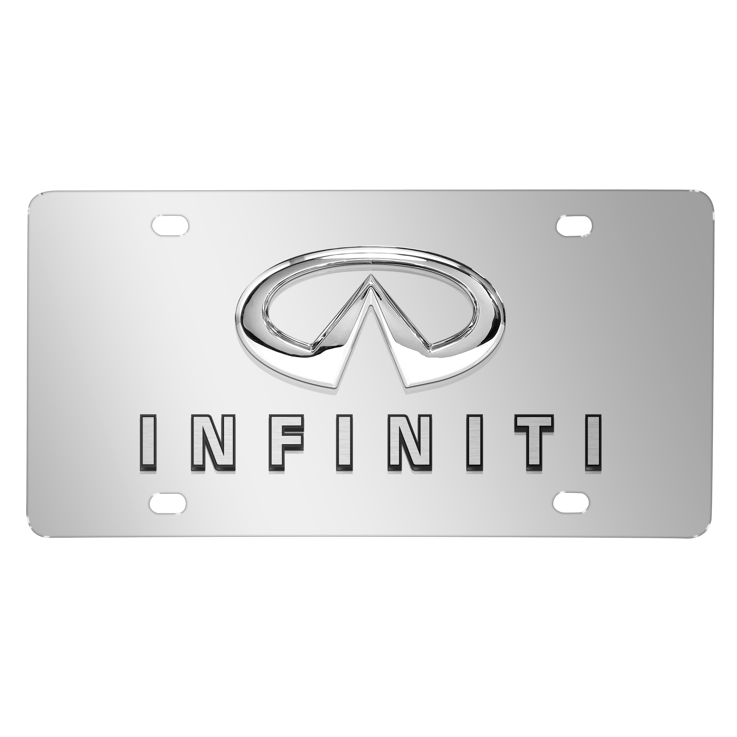 Infiniti Double 3D Logo Chrome Stainless Steel License Plate