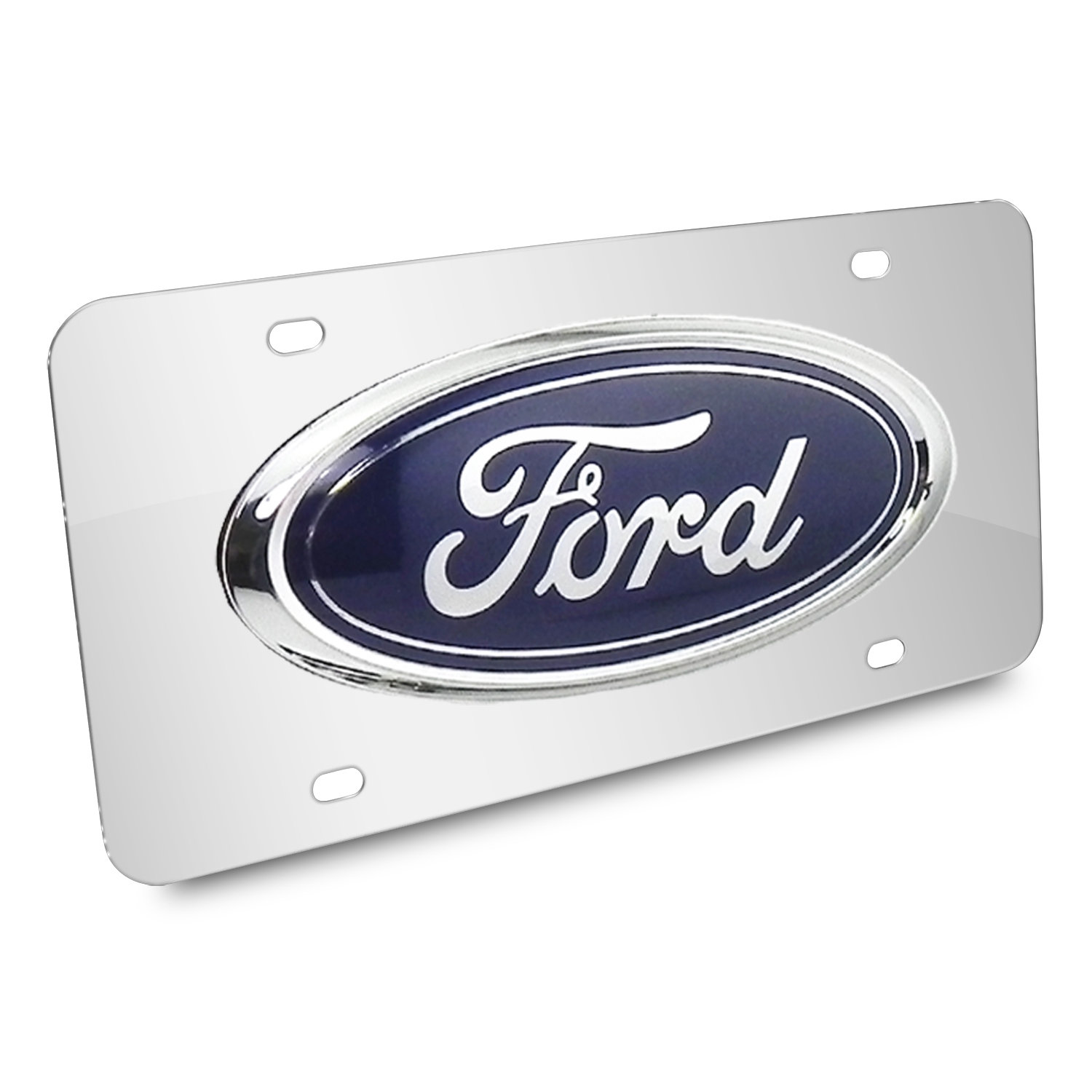 Ford Oval 3D Logo Chrome Stainless Steel License Plate