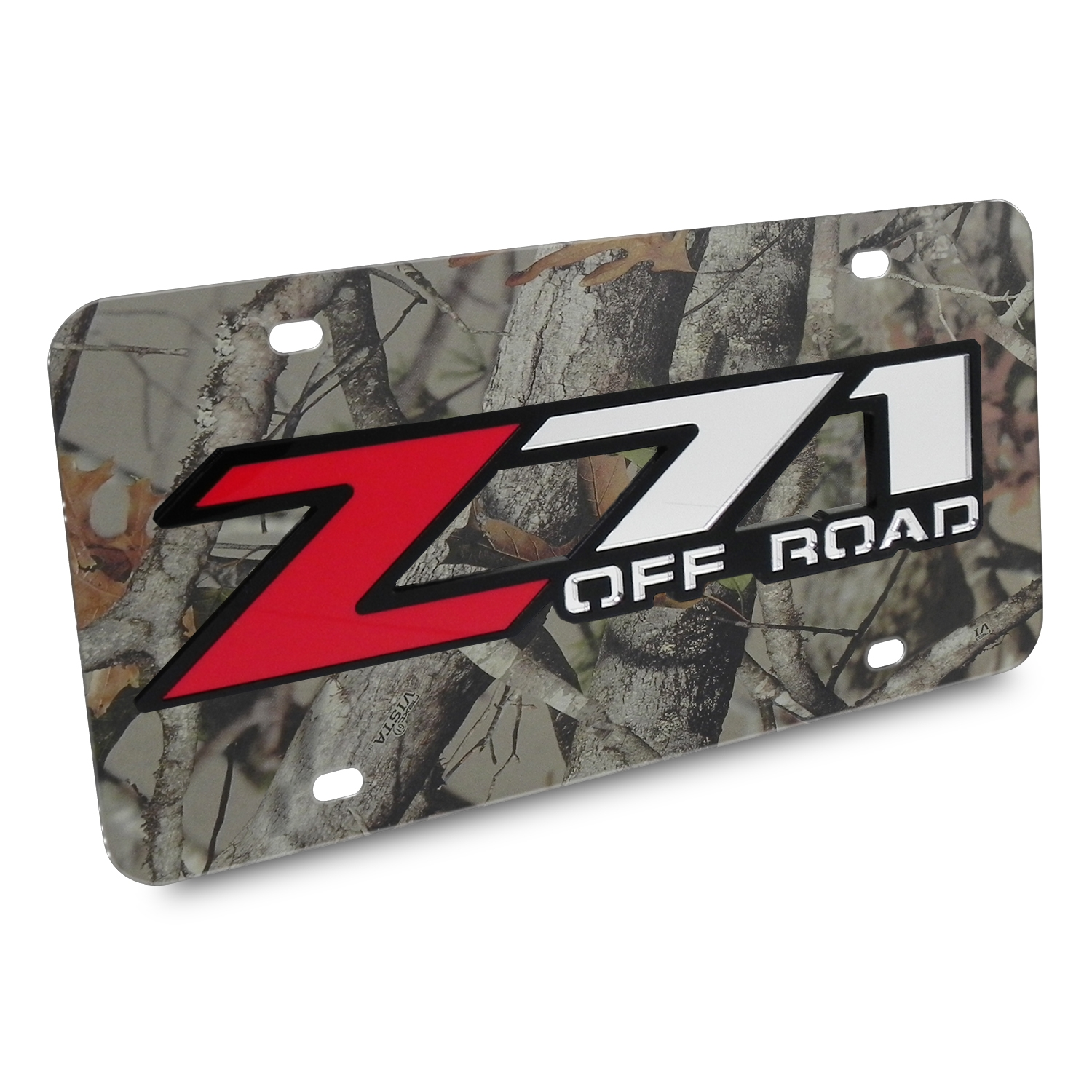 Chevrolet Z71 Offroad 3D Logo Camo Stainless Steel License Plate