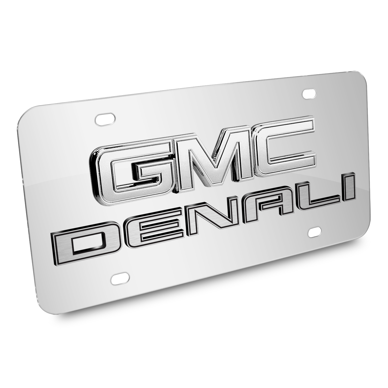 GMC Denali Double 3d Logo Chrome Stainless Steel License Plate