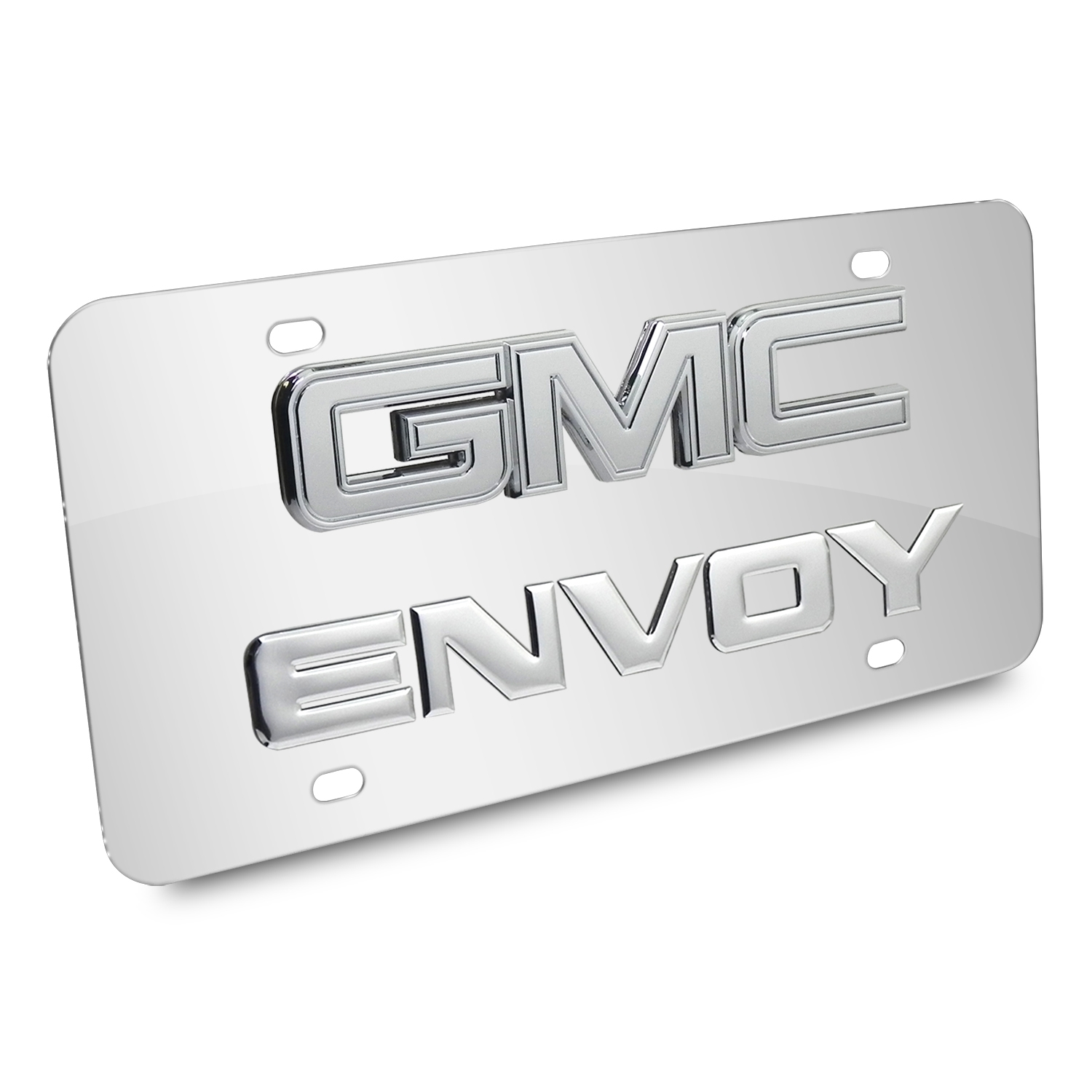 GMC Envoy Double 3d Logo Chrome Stainless Steel License Plate