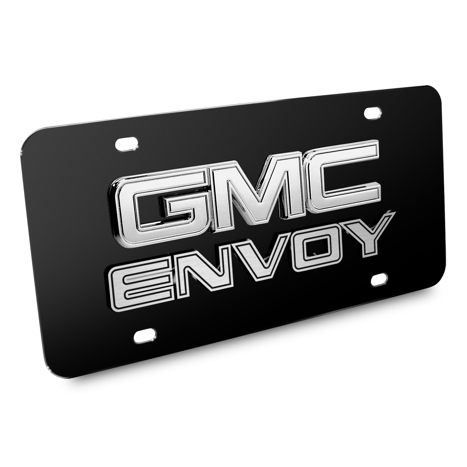 GMC Envoy Double 3d Logo Black Stainless Steel License Plate
