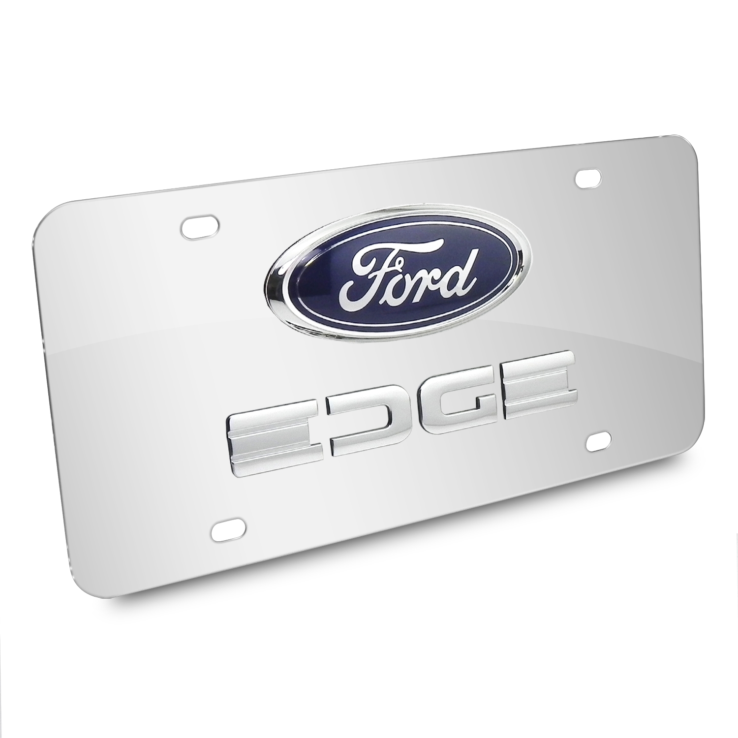 Ford Edge Double 3D Logo Chrome Stainless Steel License Plate