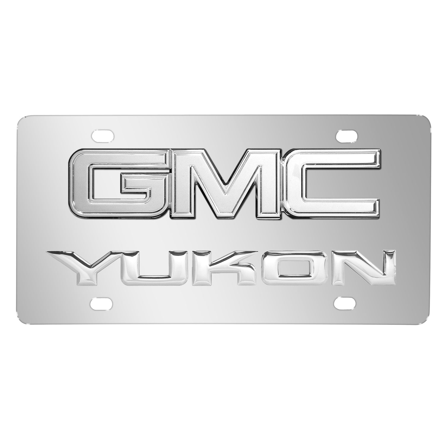 GMC Yukon Double 3D Logo Chrome Stainless Steel License Plate