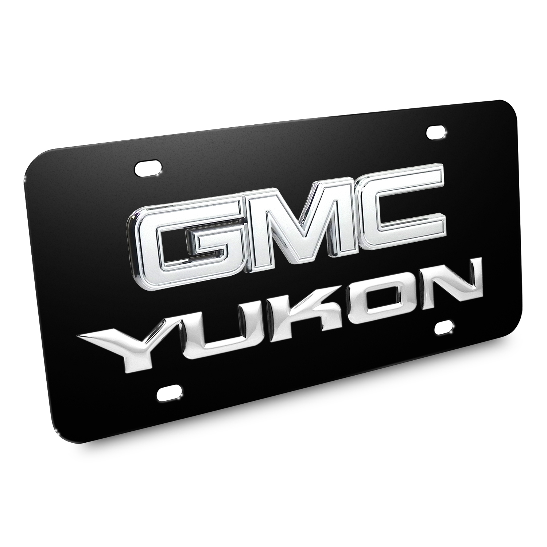 GMC Yukon 3D Logo Black Stainless Steel License Plate
