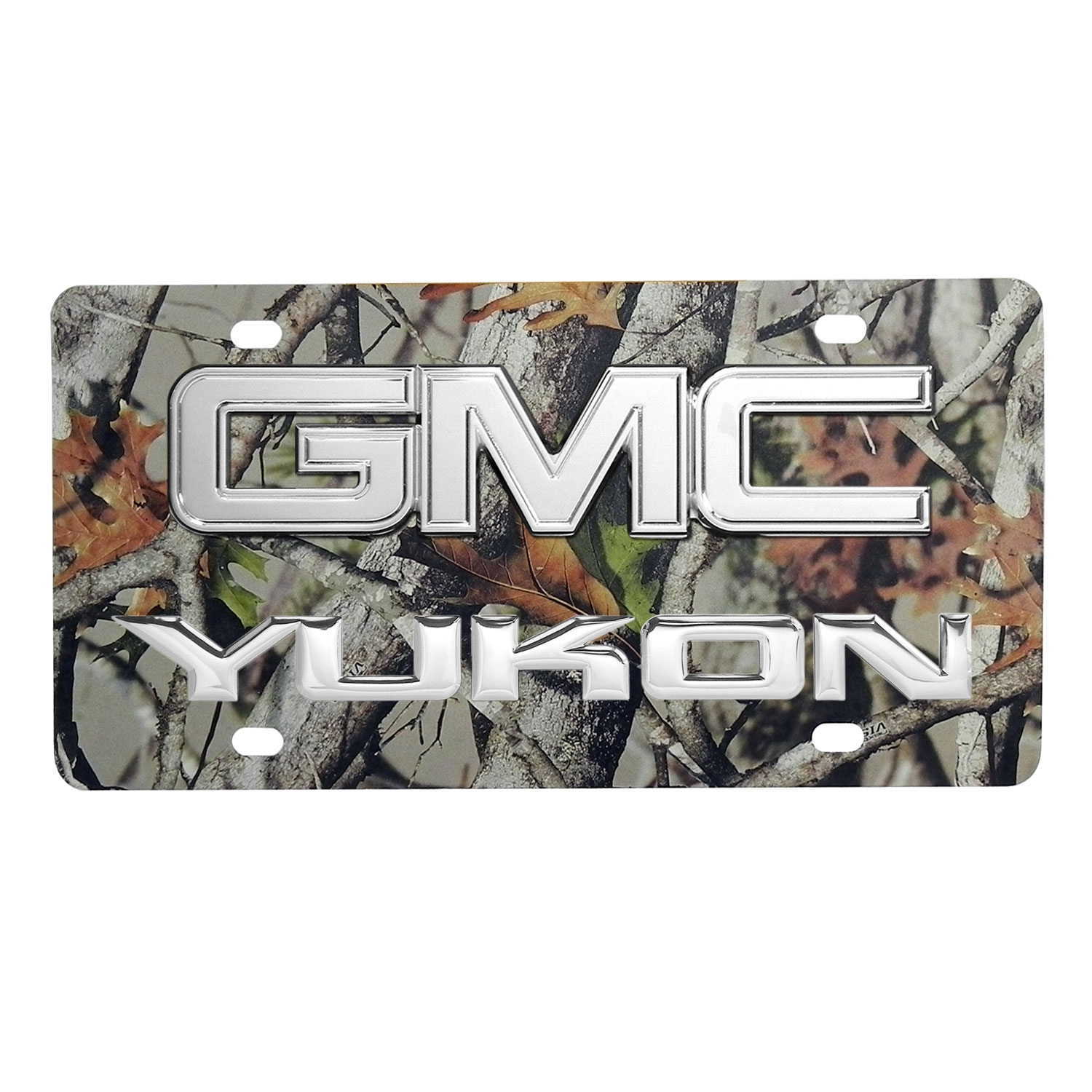 GMC Yukon 3D Logo Camo Stainless Steel License Plate